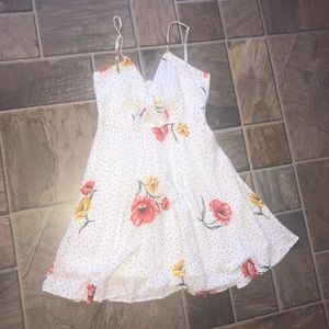 Forever 21 White Polkadot Dress with Flowers